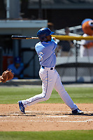 Montae Bradshaw (6) of the Burlington Royals follows through on his swing against the Greeneville Reds at Burlington Athletic Stadium on July 8, 2018 in Burlington, North Carolina. The Royals defeated the Reds 4-2.  (Brian Westerholt/Four Seam Images)