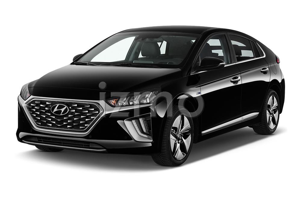2020 Hyundai Ioniq Hybrid Shine 5 Door Hatchback angular front stock photos of front three quarter view