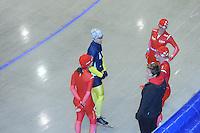 SCHAATSEN: HEERENVEEN: Thialf, 14-06-2012, Zomerijs, Mayon Kuipers, Daniel Greig (AUS), Janine Smit, trainster Desly Hill, Thijsje Oenema, ©foto Martin de Jong