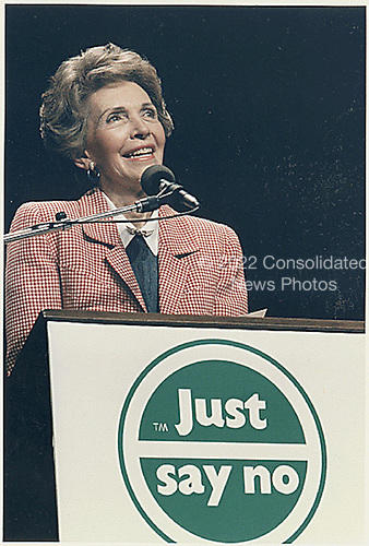 """First Lady Nancy Reagan speaks at a """"Just Say No"""" (to drugs) rally in Los Angeles, California on May 15, 1987.<br /> Credit: White House via CNP"""