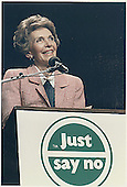 "First Lady Nancy Reagan speaks at a ""Just Say No"" (to drugs) rally in Los Angeles, California on May 15, 1987.<br /> Credit: White House via CNP"