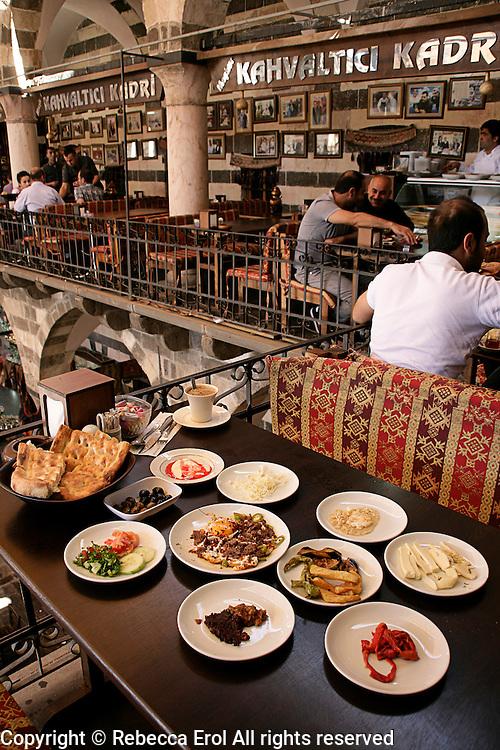 Breakfast at the Hasan Pasha Han, Diyarbakir, southeastern Turkey