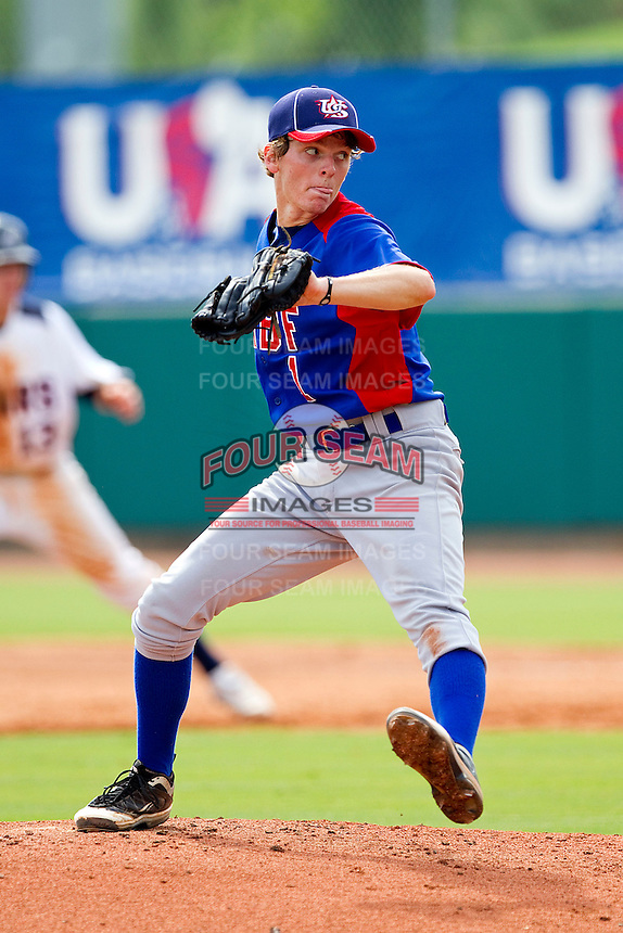 Stephen Gant #1 of NABF in action against the STARS at the 2011 Tournament of Stars at the USA Baseball National Training Center on June 25, 2011 in Cary, North Carolina.  The Stars defeated NABF 7-1.  (Brian Westerholt/Four Seam Images)