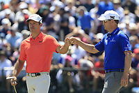 Paul Casey (ENG) and Zach Johnson (USA) on the 7th green during Saturday's Round 3 of the 118th U.S. Open Championship 2018, held at Shinnecock Hills Club, Southampton, New Jersey, USA. 16th June 2018.<br /> Picture: Eoin Clarke | Golffile<br /> <br /> <br /> All photos usage must carry mandatory copyright credit (&copy; Golffile | Eoin Clarke)