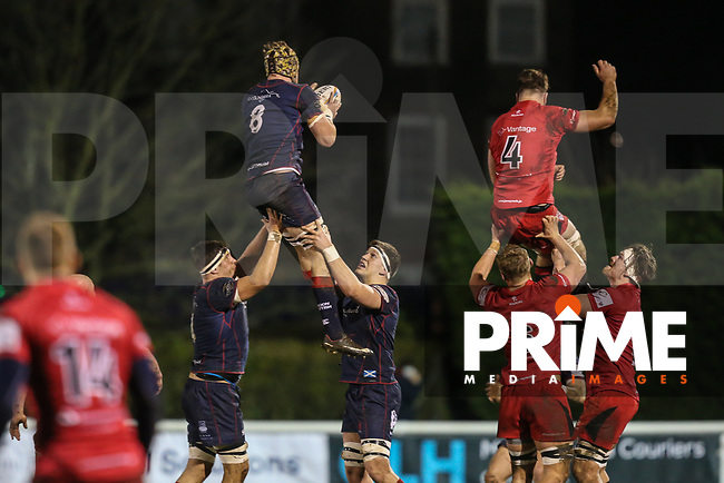 Danny Kenny of London Scottish collects the ball in a line out during the Greene King IPA Championship match between London Scottish Football Club and Jersey Reds at Richmond Athletic Ground, Richmond, United Kingdom on 16 March 2018. Photo by David Horn.