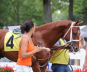 Wildcat Nation wins the seventh race at Saratoga on Aug. 26, 2009 for jockey Cornelio Velasquez and trainer D. Wayne Lukas.