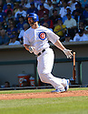 Chicago Cubs David Ross (3) during a spring training game against the San Diego Padres on March 9, 2015 at Sloan Park in Mesa, AZ. The Padres beat the Cubs 6-3.