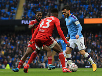 26th January 2020; Etihad Stadium, Manchester, Lancashire, England; English FA Cup Football, Manchester City versus Fulham; David Silva of Manchester City takes on Steven Sessegnon of Fulham