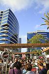 Israel, Sharon region, street Party in Herzliya's business district