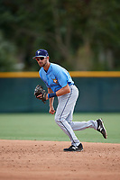Tampa Bay Rays second baseman Zach Rutherford (14) during an Instructional League game against the Pittsburgh Pirates on October 3, 2017 at Pirate City in Bradenton, Florida.  (Mike Janes/Four Seam Images)