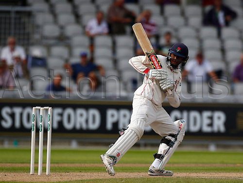 01.09.2016. Old Trafford, Manchester, England. Specsavers County Championship. Lancashire versus Somerset.  Lancashire batsman Haseeb Hamed plays a ball to the offside. At tea, Lancashire had reached 57-0 in response to Somerset's first innings score of 553-8.