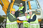 Site is go: Getting stuck in on the Tarbert site of the E-Town's project which kicked off this week were .l-r Liam Walsh ( R&L Walsh Construction Castleisland),  Ogie Moran (Shannon Development Regional Development Officer for North Kerry) and Richard Walsh (Richard Walsh Associates Quantity Surveyors) and seated John Brassil (Shannon Development Chairman).