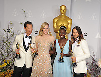 Matthew McConaughey &amp; Cate Blanchett &amp; Lupita Nyong&rsquo;o &amp; Jared Leto at the 86th Annual Academy Awards at the Dolby Theatre, Hollywood.<br /> March 2, 2014  Los Angeles, CA<br /> Picture: Paul Smith / Featureflash