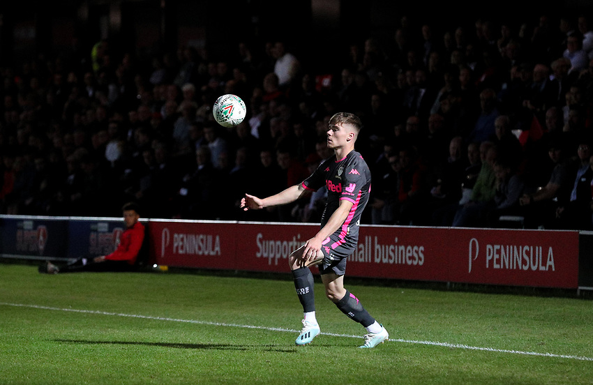 Leeds United's Leif Davis controls the ball<br /> <br /> Photographer Alex Dodd/CameraSport<br /> <br /> The Carabao Cup First Round - Salford City v Leeds United - Tuesday 13th August 2019 - Moor Lane - Salford<br />  <br /> World Copyright © 2019 CameraSport. All rights reserved. 43 Linden Ave. Countesthorpe. Leicester. England. LE8 5PG - Tel: +44 (0) 116 277 4147 - admin@camerasport.com - www.camerasport.com