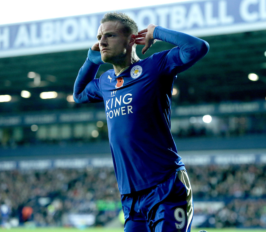 Leicester City's Jamie Vardy celebrates after scoring his sides third and winning goal<br /> <br /> Photographer Rachel Holborn/CameraSport<br /> <br /> Football - Barclays Premiership - West Bromwich Albion v Leicester City - Saturday 31st October 2015 - The Hawthorns - West Bromwich<br /> <br /> &copy; CameraSport - 43 Linden Ave. Countesthorpe. Leicester. England. LE8 5PG - Tel: +44 (0) 116 277 4147 - admin@camerasport.com - www.camerasport.com