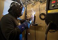 NWA Democrat-Gazette/JASON IVESTER<br /> Skyler Adams, Gravette High senior, works on a welding project Thursday, Feb. 16, 2017, during class at the Western Benton County Career Center in Gravette.