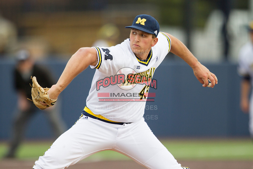 Michigan Wolverines pitcher Carmen Benedetti (43) delivers a pitch to the plate against the Toledo Rockets on April 20, 2016 at Ray Fisher Stadium in Ann Arbor, Michigan. Michigan defeated Bowling Green 2-1. (Andrew Woolley/Four Seam Images)