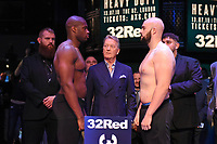 Daniel Dubois (L), Frank Warren and Nathan Gorman during a Weigh In at the BT Studios, Queen Elizabeth Olympic Park on 12th July 2019