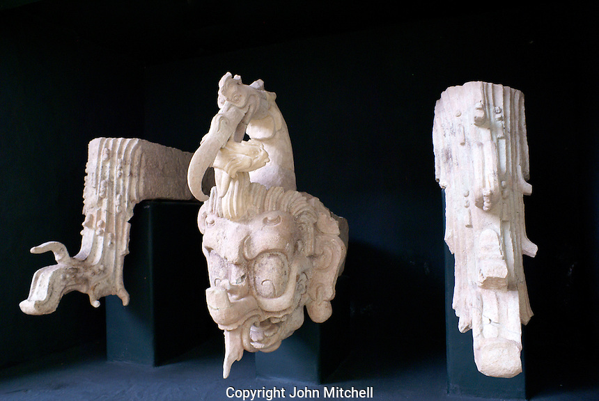 Maya rain god Chaak and waterbird and streams sculpture, Copan Sculpture Museum, Copan, Honduras.