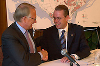 August 12,  2003, Montreal, Quebec, Canada<br /> <br /> Gerald Tremblay, Mayor of Montreal (L) and <br /> Claude Bechard, Quebec Minister of Work, Social Solidarity and Family (Emploi, Solidarit&Egrave; Sociale et famille)<br /> make an announcement about fighting poverty on the Montreal island, during a  press conference, august 12,  2003  in Montreal, CANADA<br /> <br /> <br /> Mandatory Credit: Photo by Pierre Roussel- Images Distribution. (&copy;) Copyright 2003 by Pierre Roussel