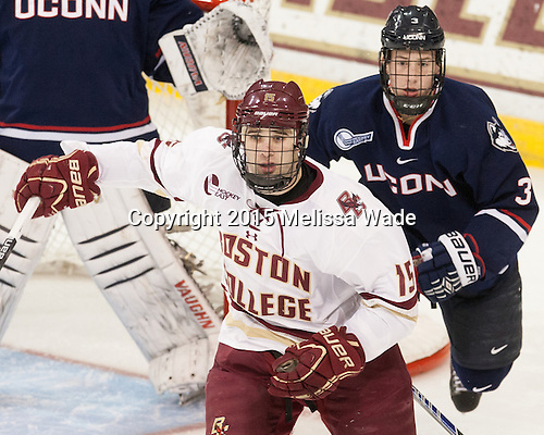 Cam Spiro (BC - 15), Ryan Segalla (UConn - 3) - The Boston College Eagles defeated the visiting University of Connecticut Huskies 3-2 on Saturday, January 24, 2015, at Kelley Rink in Conte Forum in Chestnut Hill, Massachusetts.