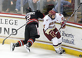 Drew Ellement (NU - 2), Paul Carey (BC - 22) - The Boston College Eagles defeated the Northeastern University Huskies 5-1 on Saturday, November 7, 2009, at Conte Forum in Chestnut Hill, Massachusetts.