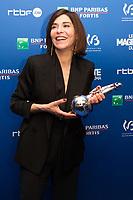 Lubna Azabal récompensée pour le Magritte de la meilleure actrice, lors de la 9ème Cérémonie des Magritte du Cinéma, qui récompense le septième art belge, au Square, à Bruxelles.<br /> Belgique, Bruxelles, 2 février 2019.<br /> Best actress award winner Lubna Azabal celebrates her award during the 9th edition of the Magritte du Cinema awards ceremony, <br /> Belgium, Brussels, 2 February 2019.
