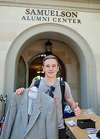 Students shop at the CDC's Dress for Success Boutique at the Samuelson Alumni Center on April 3, 2015. Oxy alumni donated business attire that students could pick up for free. (Photo by Nick Harrington, Occidental College Class of 2017)