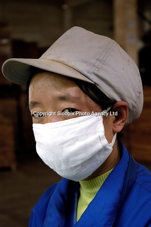 Portrait of worker in Hong Qi wood floor factory, a private firm which produces floor boards for the booming domestic market and for export to Europe (including UK) and the United States, using wood imported from Asia and South America.