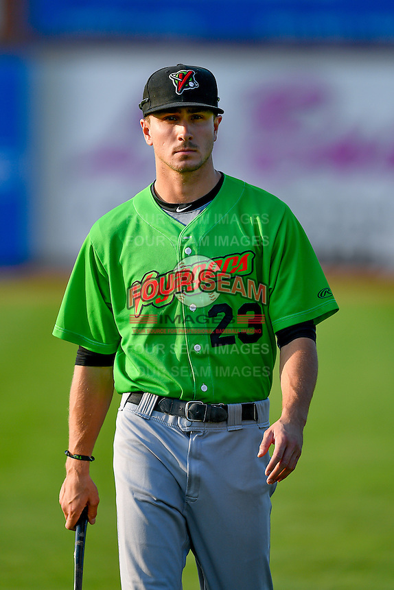 Jameson Fisher (23) of the Great Falls Voyagers walks onto the field before the game against the Ogden Raptors in Pioneer League action at Lindquist Field on August 18, 2016 in Ogden, Utah. Ogden defeated Great Falls 10-6. (Stephen Smith/Four Seam Images)