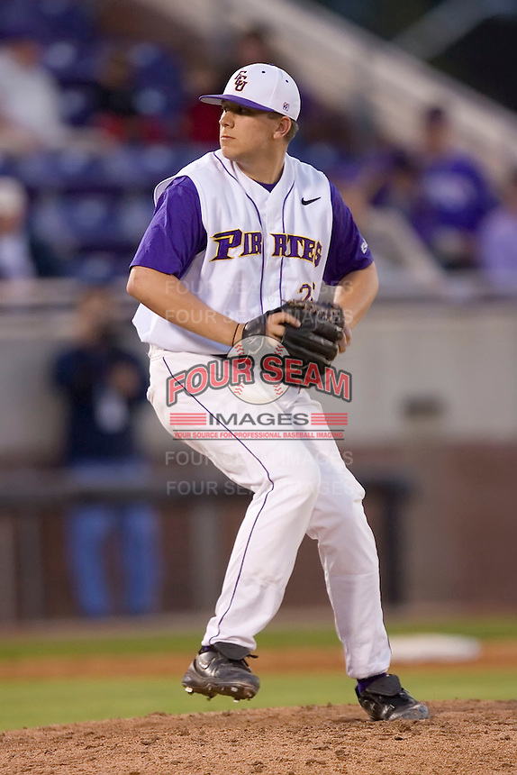 Relief pitcher Patrick Somers #26 of the East Carolina Pirates in action versus the Elon Phoenix at Clark-LeClair Stadium March 29, 2009 in Greenville, North Carolina. (Photo by Brian Westerholt / Four Seam Images)