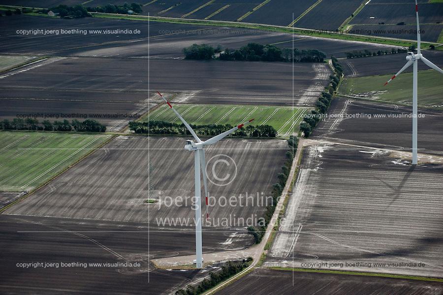 DEUTSCHLAND, Luftaufnahmen von VESTAS Windkraftanlagen in Schleswig-Holstein | GERMANY aerial view of wind farm with VESTAS wind turbine in Northern Germany