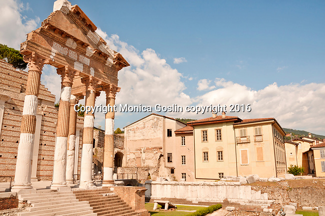 The Capitolium, or Capitoline Temple, which is part of the Roman Museum in Brescia, Italy