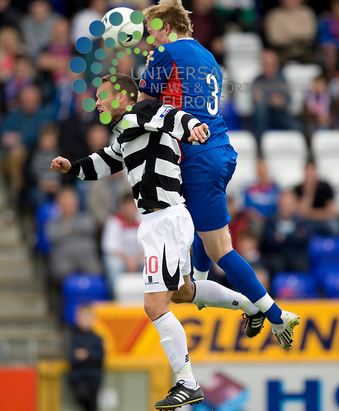 FOOTBALL.Irn Bru SFL div 1.Inverness Ct v Ayr Utd.Pictured is Inverness player Narius Bulvitus and Ayr player Mark Roberts.Picture by Gordon Gillespie