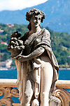 Statue in the gardens at the Villa Monastero in Varenna, Italy on Lake Como