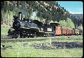 RGS #74 with RMRRC excursion at Illium wye on the Telluride Branch.  Consist is caboose #0400, two gons, coach#311, business car &quot;Edna&quot; (#B-20). #74 is now ready for the run to Lizard Head after turning.<br /> RGS  Illium, CO  Taken by August, Irving - 5/29/1949