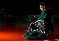 Australian Wheelchair Rugby player, Cody Meakin<br /> with his tribute to Private Robert Poate<br /> Basketball Arena (Wednesday 5  Sept)<br /> Paralympics - Summer / London 2012<br /> London England 29 Aug - 9 Sept <br /> &copy; Sport the library / Jeff Crow