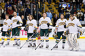 Colin Vock (Vermont - 10), Brayden Irwin (Vermont - 5), Christopher Atkinson (Vermont - 11), Kevan Miller (Vermont - 15), Corey Carlson (Vermont - 13), Mike Spillane (Vermont - 31) - The Boston College Eagles defeated the University of Vermont Catamounts 4-0 in the Hockey East championship game on Saturday, March 22, 2008, at TD BankNorth Garden in Boston, Massachusetts.