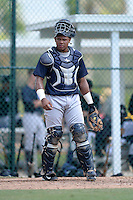 New York Yankees catcher Isaias Tejeda (47) during an Instructional League game against the Pittsburgh Pirates on September 18, 2014 at the Pirate City in Bradenton, Florida.  (Mike Janes/Four Seam Images)