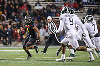 College Park, MD - October 22, 2016: Maryland Terrapins wide receiver D.J. Moore (1) runs the ball after a catch during game between Michigan St. and Maryland at  Capital One Field at Maryland Stadium in College Park, MD.  (Photo by Elliott Brown/Media Images International)