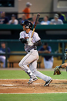 Jupiter Hammerheads second baseman Angel Reyes (30) follows through on a swing during a game against the Lakeland Flying Tigers on April 17, 2017 at Joker Marchant Stadium in Lakeland, Florida.  Lakeland defeated Jupiter 5-1.  (Mike Janes/Four Seam Images)