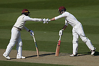 Ryan Patel (L) and Ben Foaks enjoy a useful partnership for Surrey during Surrey CCC vs Essex CCC, Specsavers County Championship Division 1 Cricket at the Kia Oval on 11th April 2019