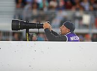 Jul 29, 2016; Sonoma, CA, USA; NHRA photographer Gary Nastase during qualifying for the Sonoma Nationals at Sonoma Raceway. Mandatory Credit: Mark J. Rebilas-USA TODAY Sports