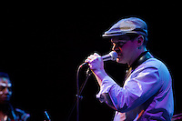 Martin Perno, founder of Antibalas and baritone sax player, introduces a new song during the Antibalas performance at Union Transfer in Philadelphia on December 13, 2012.