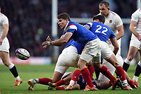 Antoine Dupont of France passes the ball. Guinness Six Nations match between England and France on February 10, 2019 at Twickenham Stadium in London, England. Photo by: Patrick Khachfe / Onside Images