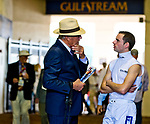 HALLANDALE BEACH, FL - JANUARY 27: Trainer Roger Attfield and jockey Florent Geroux talk between races on Pegasus World Cup Invitational Day at Gulfstream Park Race Track on January 27, 2018 in Hallandale Beach, Florida. (Photo by Scott Serio/Eclipse Sportswire/Getty Images)