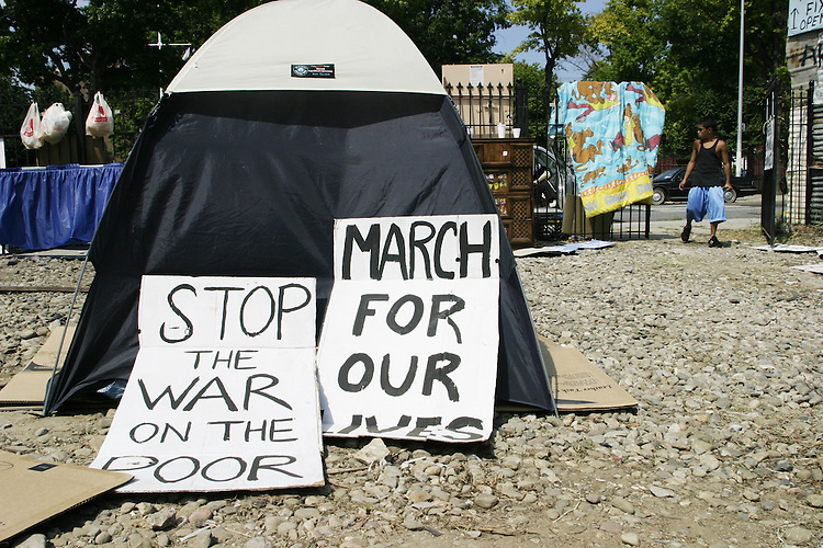 At Bushville in Brooklyn, NY on August 25, 2004.  Bushville is a mobile tent city populated by homeless and/or poor Americans, conceived by the Poor People's Economic Human RIghts Campaign to highlight their daily struggle.  Erected in an impoverished section of Brooklyn itself, the tent city remained in place for the entire Republican National Convention- the PPEHRC also organized an unauthorized march in Manhattan.