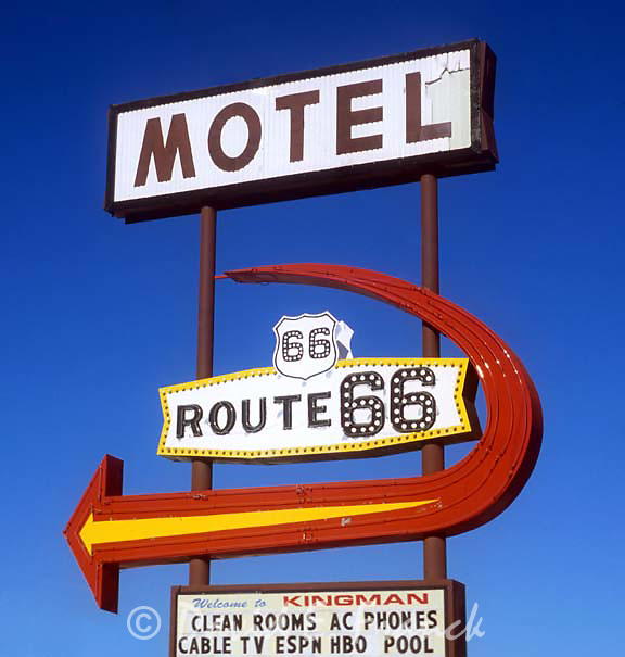 Motel Route 66 sign located on the old highway in Kingman. Arizona.