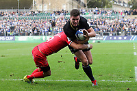 Freddie Burns of Bath Rugby is tackled. Heineken Champions Cup match, between Bath Rugby and Stade Toulousain on October 13, 2018 at the Recreation Ground in Bath, England. Photo by: Matthew Impey / Wired Photos for Onside Images