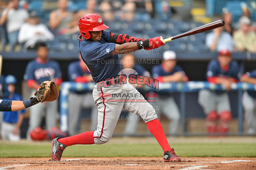 Hagerstown Suns center fielder Victor Robles (16) swings at a pitch during a game against the Asheville Tourists at McCormick Field on April 26, 2016 in Asheville, North Carolina. The Suns defeated the Tourists 8-7. (Tony Farlow/Four Seam Images)